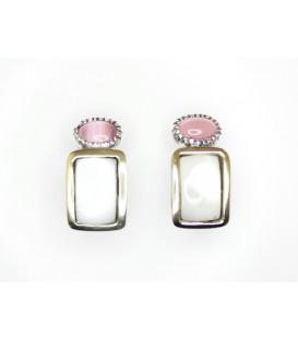 Pendientes Gümüs de plata y oro con detalles en nácar y ojo de gato color rosa.