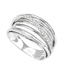 Anillo Bliss de oro blanco de 18 kt. con diamantes talla 15.