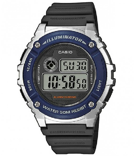 Reloj Casio W-216H-2AVEF Multifunción en resina gris y azul.